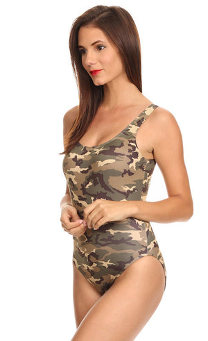 side view of Camouflage women's one-piece swimsuit ST810