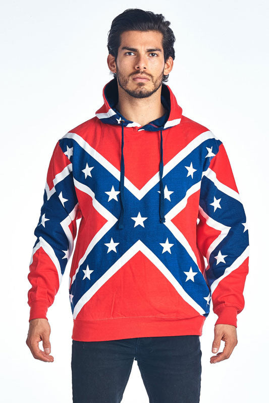 Rebel Flag Pull Over Hoodie, Poly. size Sm-3X