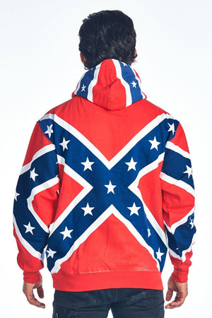 rear view of Rebel Confederate flag hoodie