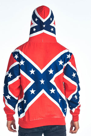 ST-HRF CLOSEOUT-Rebel Flag COTTON Pull-over Hoodie Confererate Flag Hooded Sweat Shirt