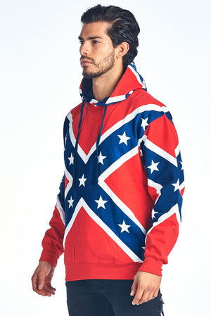 side view of Rebel Confederate flag hoodie