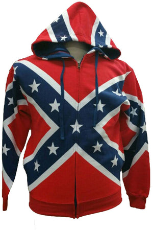 ST-ZRF CLOSEOUT- Rebel Flag ZIPPER Hoodie Confererate Flag Hooded Sweat Shirt size