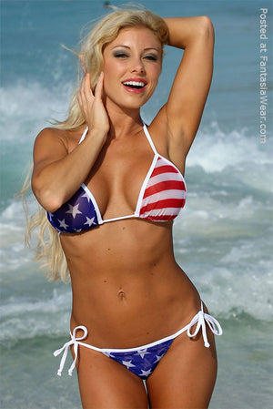 Sheer Big Star American flag side tie Tonga thong bikini