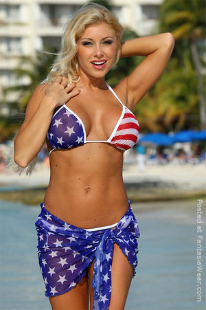 Z310 Sheer Big Star American flag Tonga thong bikini with wrap skirt