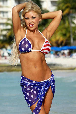 Z510 sheer American flag wrap skirt with matching USA bikini top