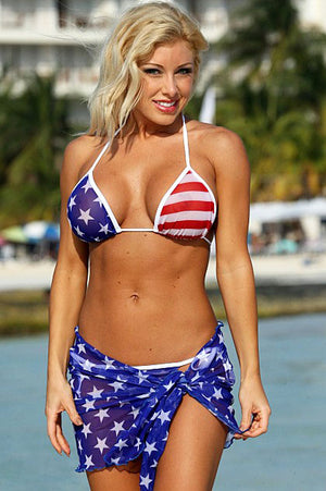 Z510 sheer American flag wrap skirt with matching sheer bikini top