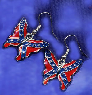 WC-RBFE Rebel Flag Butterfly Earrings