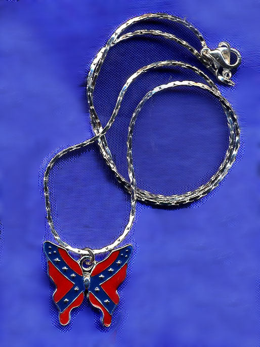 WC-RBFPN Rebel Flag Butterfly Pendant Necklace