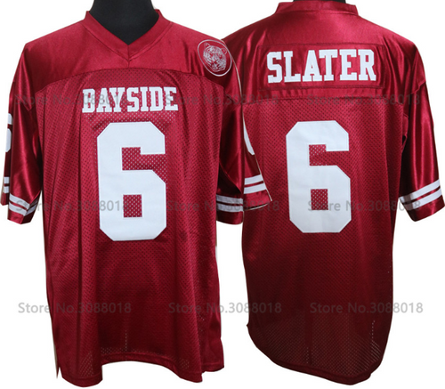Mens American Football Jerseys AC Slater 6 Bayside Tigers High School Throwback Red Stitched