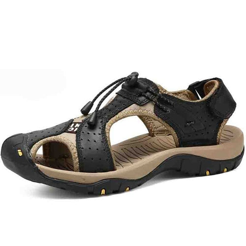 New Brand Men Sandals Leather Beach Sandals Roman Designer Style Breathable Outdoors Shoes Man Slippers Big Size 38-47