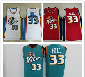 NBA Basketball Jersey Detroit Piston 33 Shall Retro Basket Ball Uniform Embroidered Vest Training