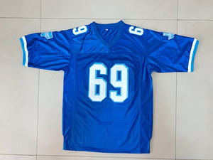 New  Men's Varsity Blues Billy Bob 69 American Football Jersey Stitched Sewn-Blue