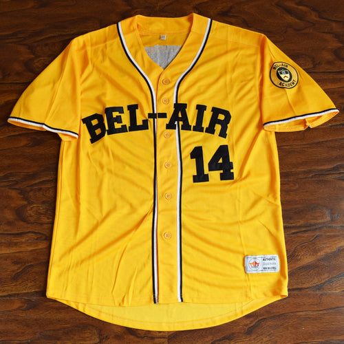 Will Smith #14 Bel-Air Academy Baseball Jersey Stitched Yellow