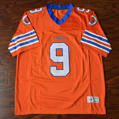 Men's Bobby Boucher #9 Mud Dogs Football Jersey Stitched Orange - The Water Boy