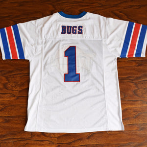 Men's Bugs Bunny #1 Tune Squad Football Jersey Stitched White with Space Jam Patch