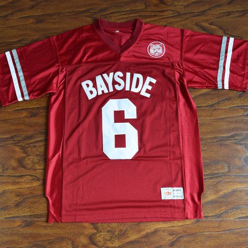 Men's AC Slater #6 Bayside Football Jersey Stitched Red - Saved By The Bell