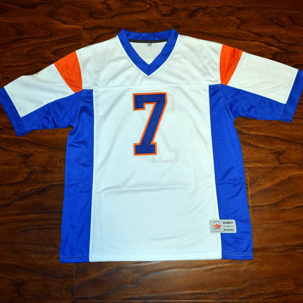 Men's Alex Moran #7 Blue Mountain State Football Jersey Stitched White