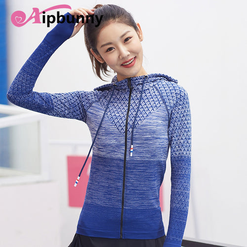 High Elastic Autumn Winter Hooded Long Sleeves Sports yoga Shirts Fitness Training Women Workout Tops Running Girl Tracksuit