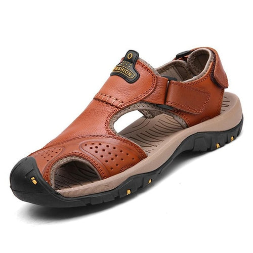 Men Sandals Genuine Split Leather Men Beach Roman  Casual Shoes Flip Flops Men Slippers Sneakers Summer Shoes