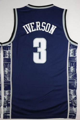 Allen Iverson College 3 Georgetown University Hoyas Basketball Jersey Commemorative All stitched