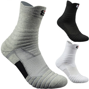 New Outdoor Sports Elite Basketball Men Cycling  Compression Cotton Towel Bottom Men's socks