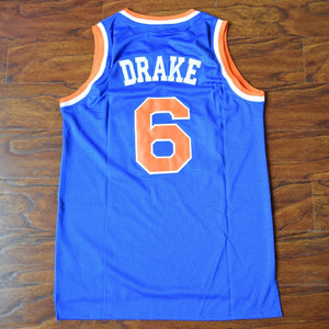 Men's Drake #6 Blue Basketball Jersey Stitched