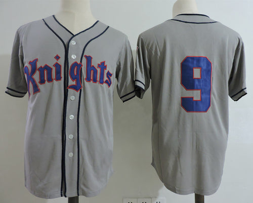 Roy Hobbs #9 New York Knights Stitched Men Throwback Baseball Jersey Grey White Movie
