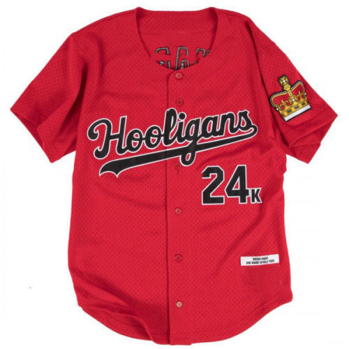 Bruno Mars 24K Hooligans Baseball Jersey men's Shirt Stitched Red