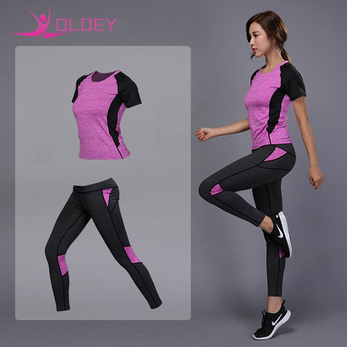 Women's sportswear Yoga Set Fitness Gym Clothes Running Tennis Shirt+Pants Yoga Leggings Jogging Workout Sport Suit