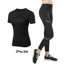 Quick Drying Mesh Sport Wear Women Tracksuit 2Piece Gym Yoga Clothes Mesh Sports Fitness Suit Female Top Legging Yoga Set Womens