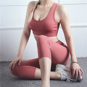 Women Yoga Set Hollow Out Seamless Yoga Sports Bra With High Waist GYM Leggings Push Up Sport Suit Fitness Suit Workout Set