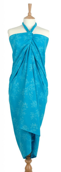 Turquoise flowers of Java Hand Made batik sarong and wrap by Your Sarong