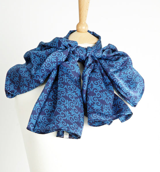 Pure Silk True Blue Short Sarong/Scarf 180x50cm