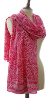 Silk Bali Leaf Short Sarong/Scarf in Pink