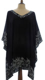 Black Kaftan with a White Bali Leaf Batik Border from Your Sarong