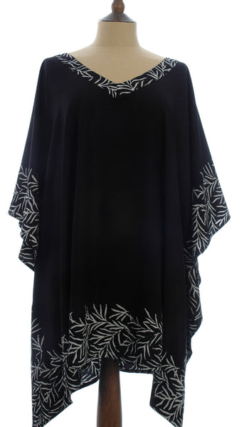 Black Kaftan with a White Bali Leaf Batik Border