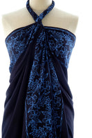 Hand Made batik sarong and wrap by Your Sarong in indigo blue on black