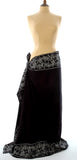 Black  Batik Sarong with Blue Bali Flower Border