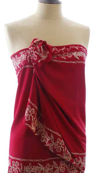 Burgundy Short Sarong/Scarf  with Cream Bali Flower Border