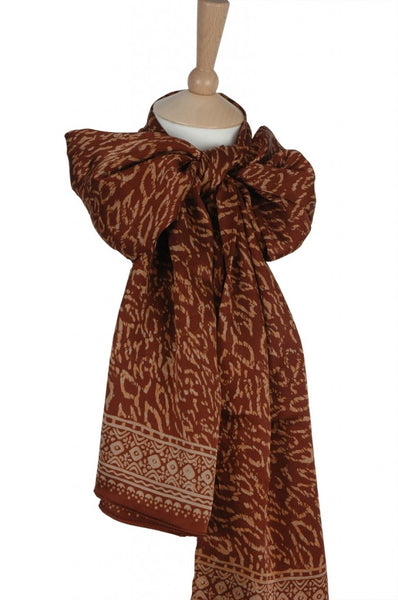 Silk Leopard Spots Short Sarongs/Scarves in Copper