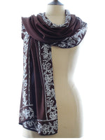 Short Sarong/Scarf  in Brown with White Bali Flower Batik Border
