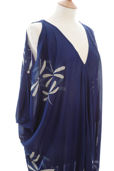 Deep Royal Blue Dragonfly Kaftan with Off The Shoulder Detail