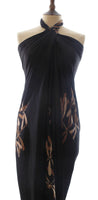 Popular gold on black dragonfly Hand Made batik sarong and wrap by Your Sarong in silk