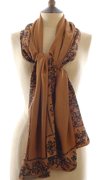 Short Sarong/Scarf in Gold with Black Bali Batik Flower Border