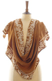 Short Sarong/Scarf  in Gold with White Bali Batik Flower Border