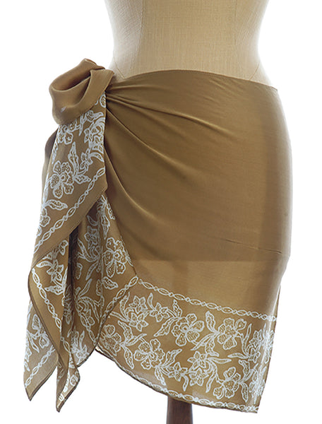 Pure Silk Short Sarong/Scarf  in Gold with White Bali Flower Border