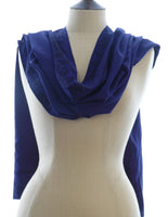 Short Sarong/Scarf  in Indigo with Black Bali Flower Border