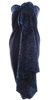 Black sarong with indigo blue batik border