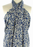 Royal Blue on White Java Batik Sarong or Wrap
