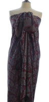 Grey Leaves on Deep Plum Silk  Batik Sarong/Wrap
